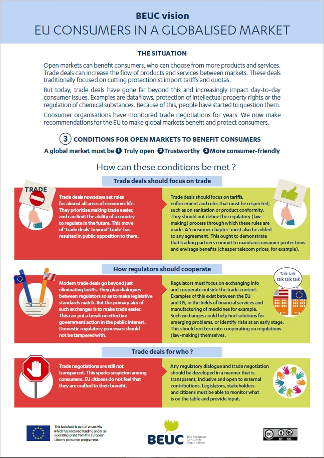 BEUC factsheet on how the EU can make global markets benefit & protect consumers.