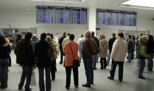 Passengers waiting for flight times