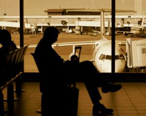 Air passengers waiting for flight departure
