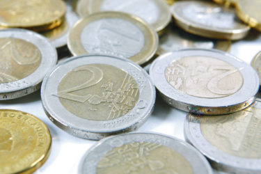 A display of euro coins