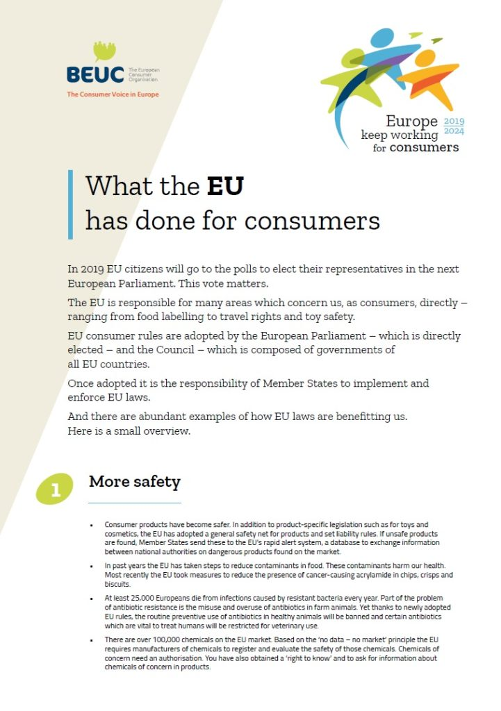 Cover page of a factsheet by European consumer groups (BEUC) on what the EU has done for consumers.